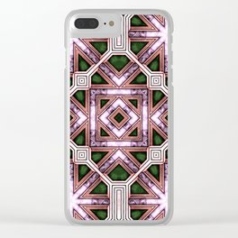 Victorian Art Deco Medieval Pattern colorful SB39 Clear iPhone Case