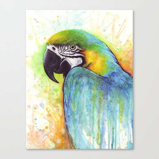 Bird Watercolor Animal Macaw Canvas Print