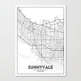 Minimal City Maps - Map Of Sunnyvale, California, United States Canvas Print