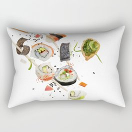 sushi rolls and ingredients with wooden chopsticks isolated on white background Rectangular Pillow