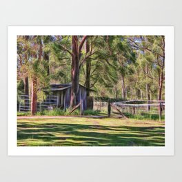 Old metal farm building in rural Queensland, Australia Art Print