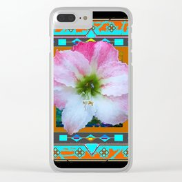 BLACK WESTERN PINK-WHITE AMARYLLIS TURQUOISE ART Clear iPhone Case
