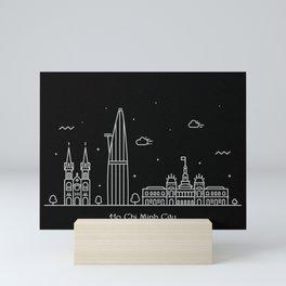 Ho Chi Minh City Minimal Nightscape / Skyline Drawing Mini Art Print