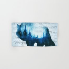 Wolf in the Forest | Double Exposure Wolf | Book Pages | Vintage Wolf Art Hand & Bath Towel