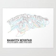 Mammoth Mountain, CA - Minimalist Trail Map Art Print