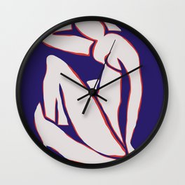 Reverse blue nude by henri matisse Wall Clock