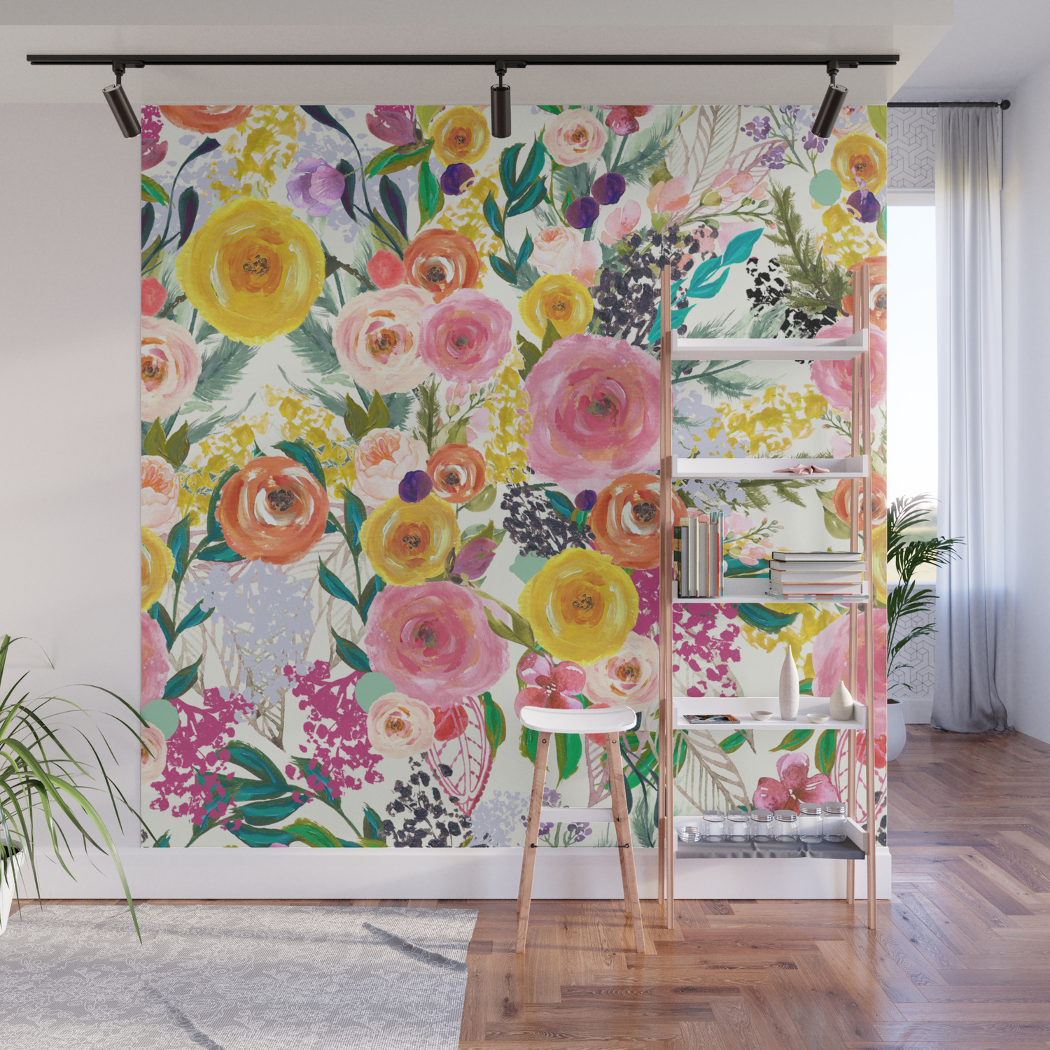 Autumn Blooms Colorful Painted Floral Print Wall Mural By Melissapolomsky Society6
