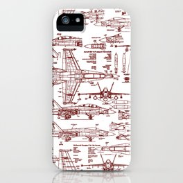 F-18 Blueprints // Red Ink iPhone Case