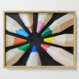 Colored Pencils in a Circle on a Black Desk Serving Tray