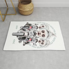 BORN BE WILD 3 surreal biker helmet girls Rug