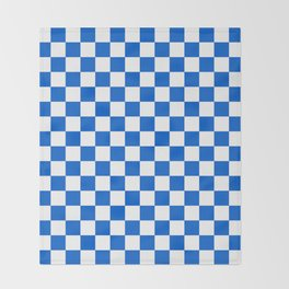 Gingham Brilliant Blue Checked Pattern Throw Blanket