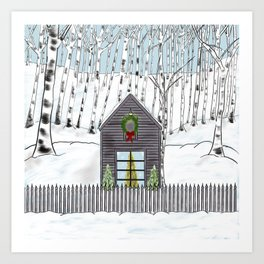 Christmas Cabin In The Snowy Woods Art Print