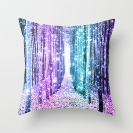 Magical Forest Lavender Aqua Teal Ombre Throw Pillow