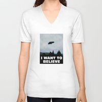 i want to believe V-neck T-shirts featuring I want to believe by SIMid