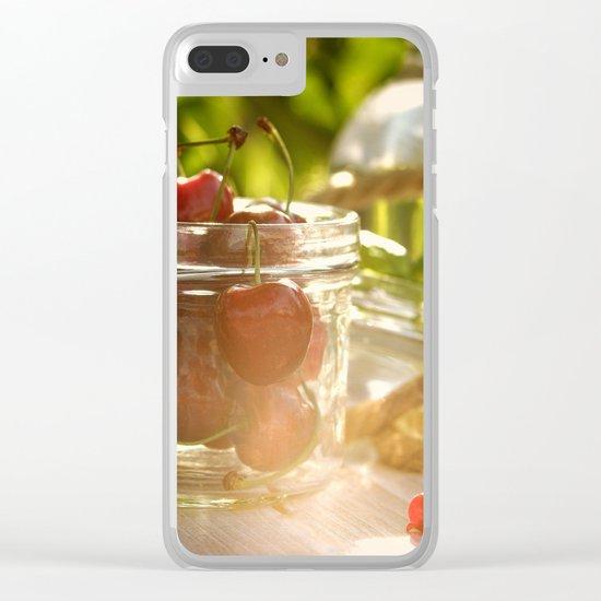 Fresh cherrie in glass Clear iPhone Case