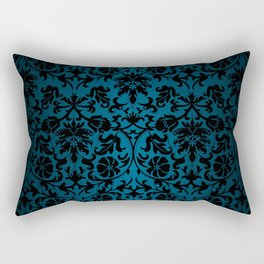 Teal and Black Floral Damask Rectangular Pillow