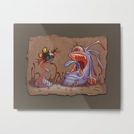 Grey Paper Sketch: Tail Biter, Grey Background Metal Print