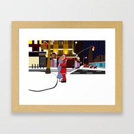 Santa's Kiss on Broadway Framed Art Print