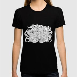 black and white zen tangled composition T-shirt