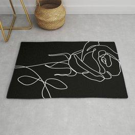 Minimal Line Art Rose Black Rug