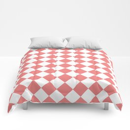 Diamonds - White and Coral Pink Comforters