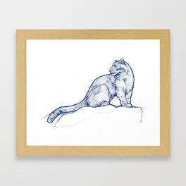 Snow Leopard, Blue Framed Art Print