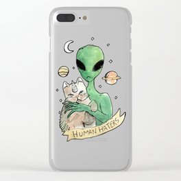 aliens and cats are human haters Clear iPhone Case