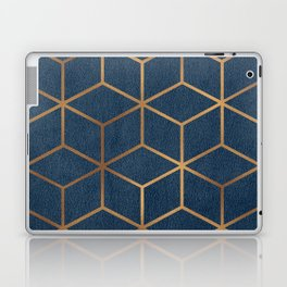 Dark Blue and Gold - Geometric Textured Cube Design Laptop & iPad Skin