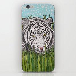 White tiger in wild grass iPhone Skin