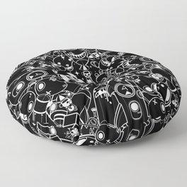 For Good For Evil - Black on White Floor Pillow