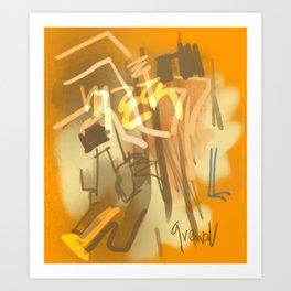 Yellow abstract Punjab Art Print