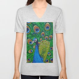On Display - Peacock Unisex V-Neck