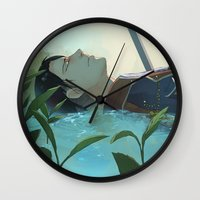levi Wall Clocks featuring The dreamer (Levi, SnK) by sushishishi