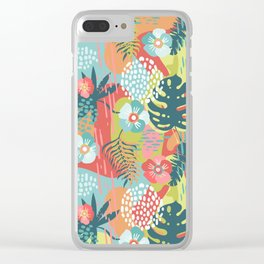 Abstract Tropical Rainforest Palm Leaves and Flowers in Bold Summer Colors Clear iPhone Case