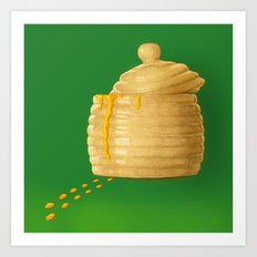 Dip Into The Honey Jar - Green Painting Art Print