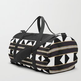 Black and White Marble Tile Abstract Duffle Bag