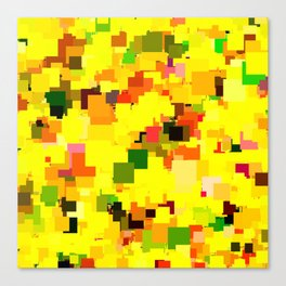geometric square pattern pixel abstract background in yellow orange green red Canvas Print