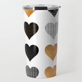 Gold, black, white hearts Travel Mug