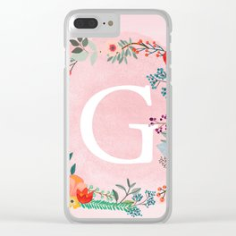 Flower Wreath with Personalized Monogram Initial Letter G on Pink Watercolor Paper Texture Artwork Clear iPhone Case