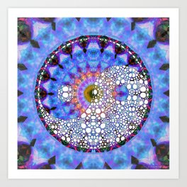 Raw Energy Yin And Yang Symbol - Blue And Purple Art - Sharon Cummings Art Print