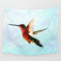 hummingbird Wall Tapestries featuring Hummingbird by Nichole B.