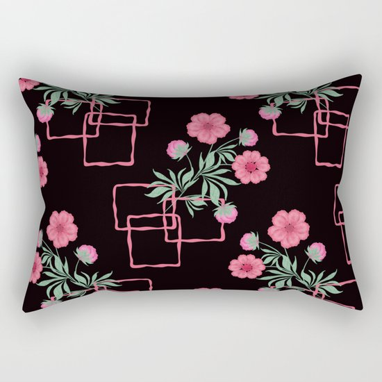 Red ,pink flowers on black background . Rectangular Pillow