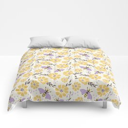 Honey Bees and Flowers - Yellow and Lavender Purple Comforters
