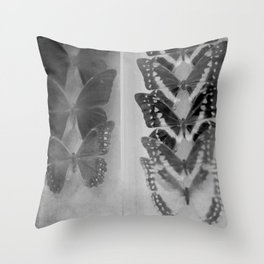 Case of Butterflies in Black and White Throw Pillow
