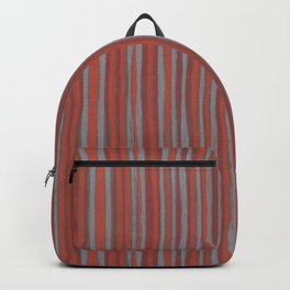 Grey and terracotta stripes Backpack