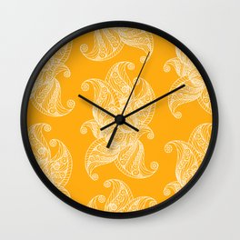 White and Yellow Feathers Wall Clock