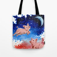 pigs Tote Bags featuring 3 Pigs by Priscilla George