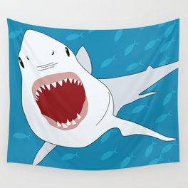 Shark Attack Underwater With Fish Swimming In The Background Wall Tapestry