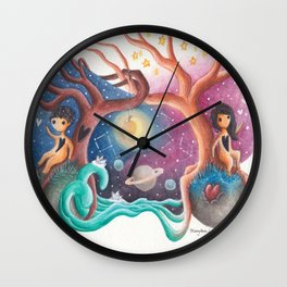 Girl and Boy In Love From Different Worlds Wall Clock