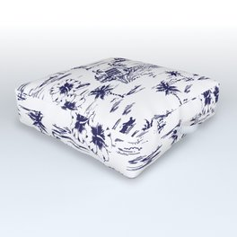 Tropical Island Vintage Hawaii Summer Pattern in Navy Blue Outdoor Floor Cushion
